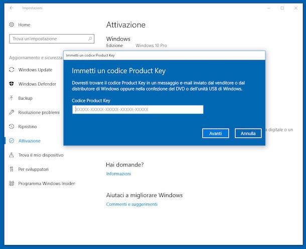 Come controllare se Windows 10 è attivato regolarmente