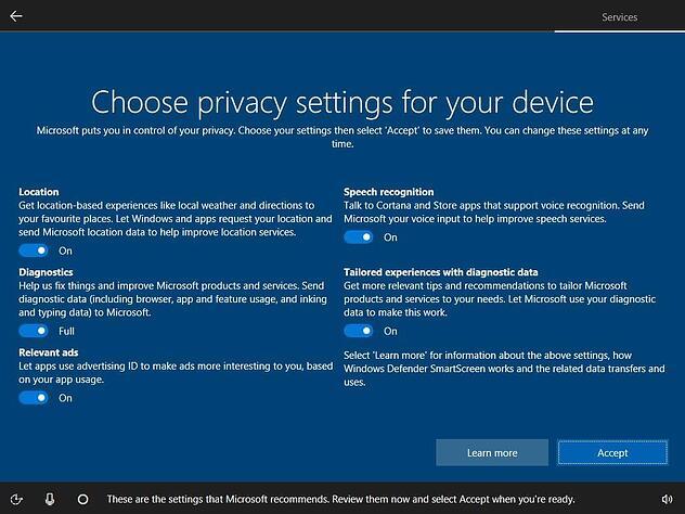 Come impedire a Windows 10 di raccogliere informazioni personali